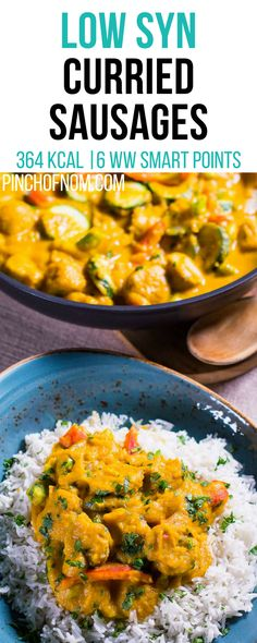 Low Syn Curried Sausages Pinch Of Nom Slimming World Recipes 364 kcal 2 Syns 6 Weight Watchers Smart Points Slimming World Sausages, Slimming World Curry, Curry Recipes, Diet Recipes, Healthy Recipes, Curried Sausages, Smart Points, Healthy Snacks, Get Skinny