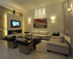 Linear Fireplace with TV | Living Room Decorating Ideas with TV