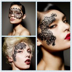 Face Lace Eye Masks Girls Hollow Party Makeup Tattoo Sticker One Size Black #EyeMasks