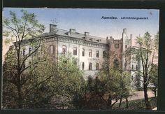 old postcard: AK Komotau / Chomutov, Blick zur Lehrerbildungsanstalt