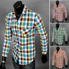 $9.9 for Men Shirts Fashion Plaid Male tshirt Folding Collar Long Sleeve