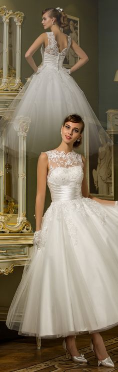 Princess Illusion Neckline Ankle Length Tulle Wedding Dress with Appliques Sash / Ribbon Button