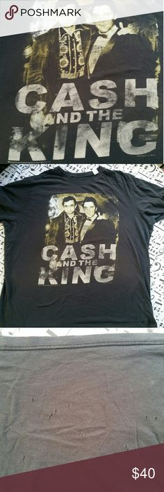 CASH & KING Tshirt Wow...love this shirt...both icons together...JOHNNY CASH & ELVIS PRESLEY! Shirt is faded and has very small holes near back bottom (see pics) and a cpl small other ones on top back....I always feel this gives it more of vintage look but that is personal preference :) Size 4XLT Shirts Tees - Short Sleeve