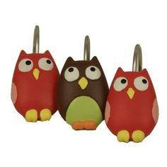 Owl Resin Shower Curtain Hooks #owls #bath #bathroom