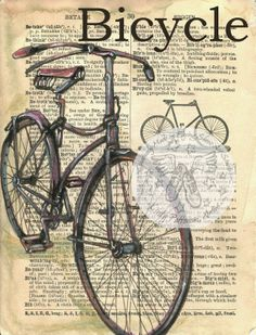 Antique Bicycle Drawing on 1890's Dictionary Page - prints available at www.etsy.com/shop/flyingshoes - flying shoes art studio