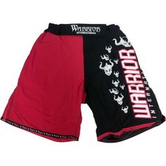 Warrior International Official MMA Fight Shorts - Black/Red / Size 34 by Warrior International. $29.99. Warrior International Official MMA Fight Shorts. Comes in a combination of Black/Red or Red/White. Both stunning in color and build. Highest quality fight shorts with multiple straps and closures.  Features a 3 way closure system including an inside elastic draw string. Logo on the left front thigh and rear right thigh. Viking warrior logos throughout.  Seven inch slit on...