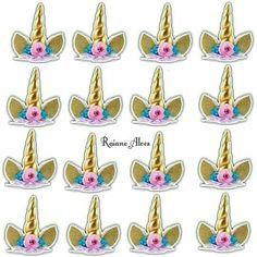 Topper unicornios Unicorn Birthday Invitations, Unicorn Birthday Parties, Unicornio Birthday, Unicorn Cupcakes Toppers, Rainbow Unicorn Party, Unicorn Pictures, Unicorns And Mermaids, Unicorn Head, Unicorn Crafts