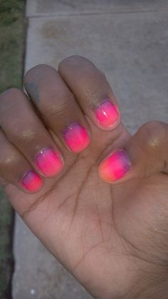 Paradise sunset ombre  nails
