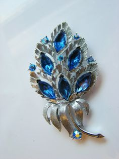 LISNER Brooch with Sensuous Blue Marquis Rhinestones - Brilliant Silvertone Setting on Etsy, $24.00