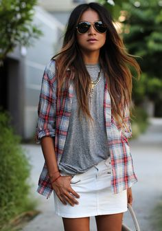 I wore my trusty ol' Converse and the plaid shirt wrapped around my waist for a more grungy-laid back look to the flea market (check my inst...
