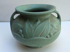 Vintage Nelson McCoy Stoneware Handled Urn Matte Green RARE and Mint | eBay