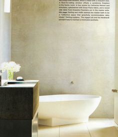 Smooth stone floors and Venetian Plaster Walls