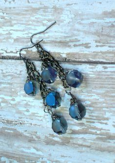 Czech Glass Iridescent Blue Purple Matte Faceted by Cheshujewelry, $18.00