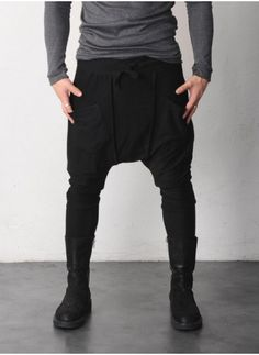 Mens Drop Crotch Cut-out Seam Jersey Pants at Fabrixquare Harem