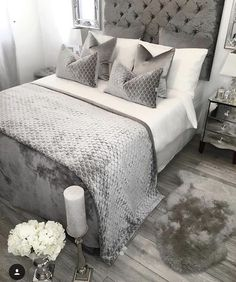 Outstanding Bedroom Ideas, A cool yet creative collection on room decor ideas. For other outstanding bedroom styling info why not visit the pin to wade through website summary 4035764689 at once. Grey Bedroom Decor, Glam Bedroom, Room Ideas Bedroom, Bedroom Inspo, Home Bedroom, Bed Room, Master Bedroom, Dream Rooms, Luxurious Bedrooms