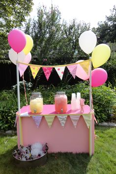 Lia's Lemonade Stand!  We found DIY instructions to make this lemonade stand on the 'This Old House' website.