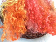 Hand Dyed British Teeswater Wool locks for by KnitwitOriginalsUK