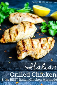 Looking for a really amazing Italian Chicken Marinade? This simple recipe for Italian Grilled Chicken will be your new favorite dinner idea. The BEST grilled chicken recipe for breasts, legs and thighs! Italian Marinade For Chicken, Grilled Italian Chicken, Italian Chicken Breast, Best Grilled Chicken Recipe, Grilled Chicken Strips, Balsamic Grilled Chicken, Grilled Chicken Tenders, Chicken Marinade Recipes, Italian Chicken Recipes