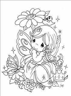 Fairy Coloring Pages Books Cute Little Girls Precious Moments Adult Fairies Children Color Design