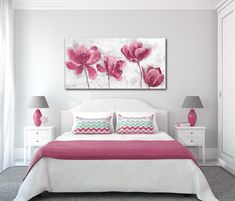 Best 12 Timeless in Pink. Floral Painting, Pink Abstract Art, Wall Decor, Abstract Colorful Contemporary Canvas Art Print up to by Irena Orlov – SkillOfKing. Small Space Interior Design, Modern Bedroom Design, Design Interior, Home Wall Decor, Home Decor Bedroom, Beautiful Bedrooms, Girls Bedroom, Wall Canvas, Canvas Art