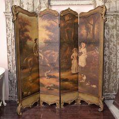 Stunning Vintage Pastoral Dressing Screen $395.00 #thebellacottage #french #OOAK #SALE