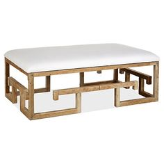 Brownstone Upholstery Lila Cocktail Ottoman, White Linen, An eye-catching base of reclaimed wood gives this linen-upholstered bench modern style. The neutral palette keeps it fresh and versatile. Handcrafted in the USA.