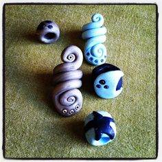 Celestial spirals dread bead set by thisthatandthese on Etsy, $10.00