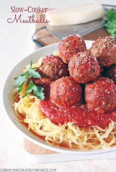 Slow-Cooker Meatballs with Roasted Spaghetti Squash {gluten-free & low-carb}