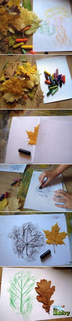 Repasa con una crayola la forma de las hojas sobre papel y crea una obra de arte con tu peque.