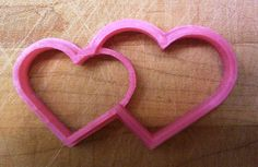 Valentine - Double Hearts Cookie Cutter - Choice of Sizes - 3D Printed Plastic #Handmade3DPrint