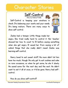 Self-Control Character Reading Comprehension Worksheet. This reading comprehension worksheet is for teaching and learning about Self-Control. Reading Comprehension Worksheets, Reading Fluency, Reading Strategies, Comprehension Questions, Reading Response, English Stories For Kids, Moral Stories For Kids, Reading Stories, Values Education