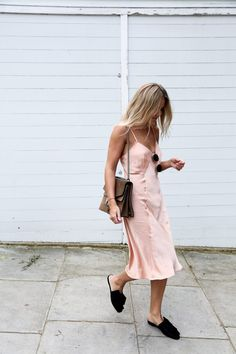 slip dress + smoking slippers