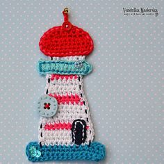 Crochet lighthouse appliqué  pattern DIY
