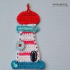 Crochet lighthouse appliqué  pattern DIY