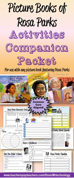 Rosa Parks Activities Companion Bundle can be used with any read aloud or picture book on multiple grade levels.   Perfect for Black History Month (February) or Women's History Month (March) Activities!