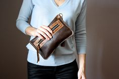 Espresso Brown leather clutch lambskin clutch by VitalTemptation