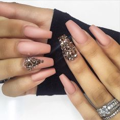 Matte Peachy Nude Long Coffin Nails with Bling @demile85 #nail #nailart