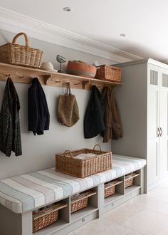 hallway storage or bootroom storage solution with comfy bench, coat hooks and storage cupboard custom built by mowlem & co .with these boot room ideas Boot Room Utility, Utility Room Ideas, Hallway Decorating, Decorating Ideas, Decor Ideas, Porch Decorating, Mudroom, House Design, Interior Design