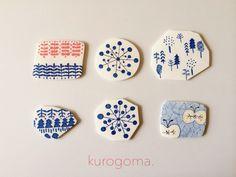 北欧柄のブローチ【青】 by kurogoma. アクセサリー コサージュ・ブローチ
