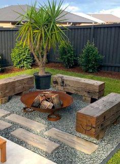 Backyard Patio Designs, Small Backyard Landscaping, Fire Pit Backyard, Landscaping Ideas, Outdoor Fire, Outdoor Gardens, Garden Design, Pergola, House