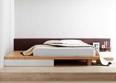 Cadre en bois de cadre de lit élégant Bed deux couleurs en bois moderne