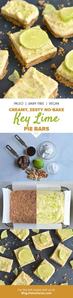Bursting with creamy, citrus flavors, these No-Bake Key Lime Pie Bars are perfect for warm weather snacking! Get the full recipe here: https://paleo.co/keylimepiebars