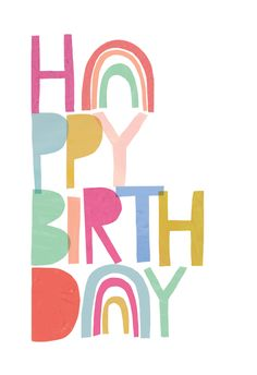 Happy Birthday Printable, Happy Birthday Art, Birthday Card Template, Rainbow Birthday, Happy Birthday Images, Diy Birthday, Birthday Greetings Friend, Happy Birthday Wishes Cards, Bday Cards