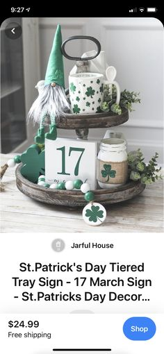 St Patrick's Day Decorations, Valentine Decorations, Saint Patricks, St Patricks Day, Homemade Gift Baskets, St Patrick's Day Crafts, Tier Tray, Tiered Stand, St Paddys Day