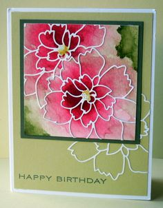 gorgeous watercolor card ... Birthday Greeetings from Sallie by peeps321  .... luv how she used the stained glass flower outline die cuts ...  lives and pinks ... luv it!!