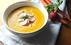 This roasted carrot soup is packed with cold-busting ingredients like turmeric, ginger, cayenne and a honey-radish slaw.