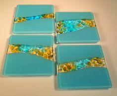 Mountain Stream Design Fused Glass Coaster Set of 4