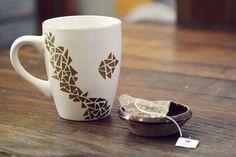 gold sharpie patterned mug. bake at 300 degrees for 30 minutes!