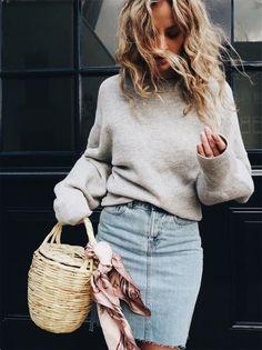sweatshirt and denim skirt