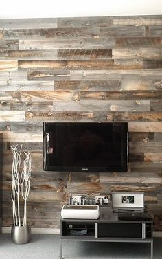 Dramatically Improving Your Space: Stikwood Wood Wall Decor. I'm in love with this Stikwood. House Design, Home Projects, Home Improvement, Peel And Stick Wood, Home Remodeling, New Homes, Weathered Wood, Home Diy, Pallet Walls